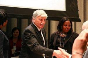 Lieutenant General Romeo Dallaire led UN peacekeeping in Rwanda during the genocide. Eugenie Mukeshimana, head of Genocide Survivors Support Network, stands next to him. Photo courtesy of Africa Renewal/Bo Li