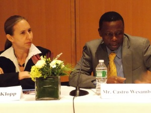 Jacqueline Klopp and Castro Wesamba discussed Kenya's efforts to avoid political violence. Photo by Barbara Borst