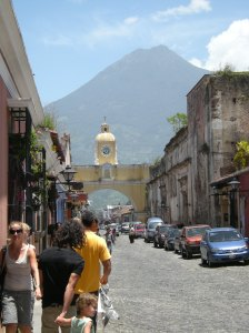 Antigua, Guatemala, once a Spanish capital of Central America, sits below Agua volcano. Photo by Barbara Borst