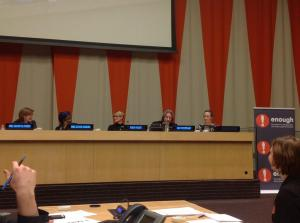 Panelists discuss ways to stop sexual violence in the Congo. Photo courtesy of The Enough Project