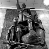 Sculpture at Partizansky metro 2 station in Moscow.