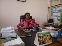 Kudra J. Mwinyimvua, regional administrative secretary for the Tabora region of Tanzania, in her office. Photo by Barbara Borst